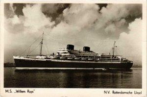 CPA AK M.S. WILLEM RUYS N.V. Rotterdamsche Lloyd SHIPS (704204)