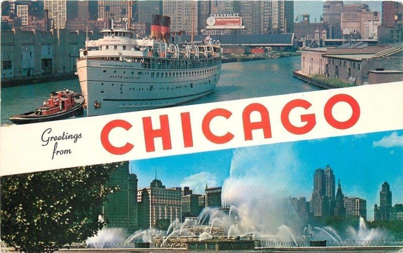 Chicago banner greetingsnorth american shipfountains1950s berka chicago banner greetingsnorth american shipfountains1950s berka postcard m4hsunfo