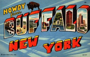 New York Buffalo Howdy Greetings From The City Of Good Neighbors Curteich
