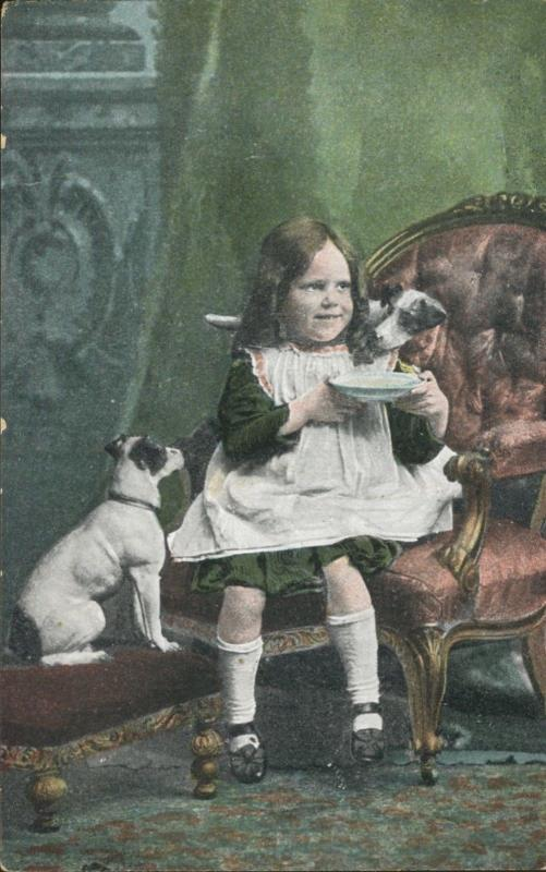 Young Girl Child w/ Dogs Pets Eating Green Star Series Vintage Postcard D8