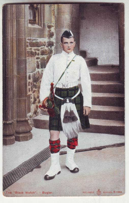 P936 scottish old card the black watch bugier