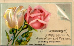 Rare, O.F. BAUMGRAS Engraver, ARTISTS MATERIALS FRAMES - AUBURN NY Trade Card