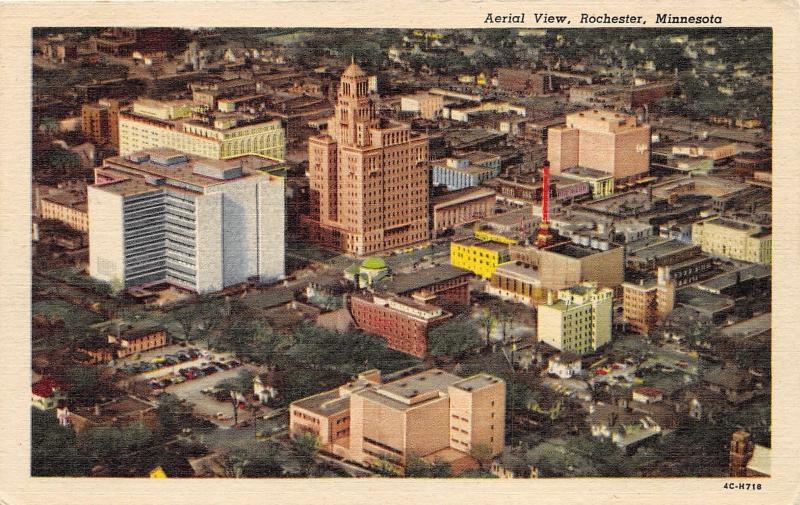 Rochester Minnesota Aerial View~Medical Center-Street-Cars-1954 Postcard