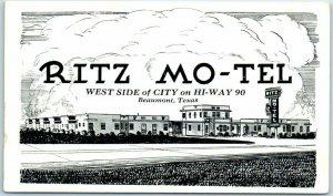 Beaumont, Texas Postcard RITZ MO-TEL Route 90 Roadside Artist's View c1950s