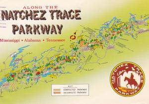 Map Of The Natchez Trace Parkway Mississippi - Alabama - Tennessee 1982