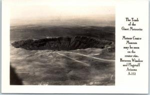 Arizona Meteor Crater RPPC Real Photo Postcard Aerial View Frasher A-151 c1950s