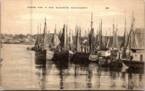 Gloucester MA - FISHING FLEET IN PORT -  Real Photo Postcard