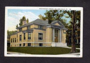 VT Rockingham Library Bellows Falls Vermont Postcard PC