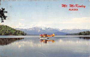 Mt McKinley Alaska~Airplane w/Skis on the Water~1973 Postcard