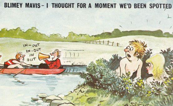 Canoe Canoeing Boat Loudspeaker Spots Couple In Bush 1970s Comic Humour Postcard