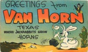 Comic Humor Van Horn Texas large letters 1940s Postcard Holmer 20-1340