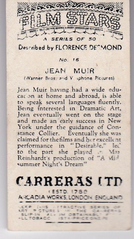 Cigarette Cards Carreras FILM STARS No 16 Jean Muir