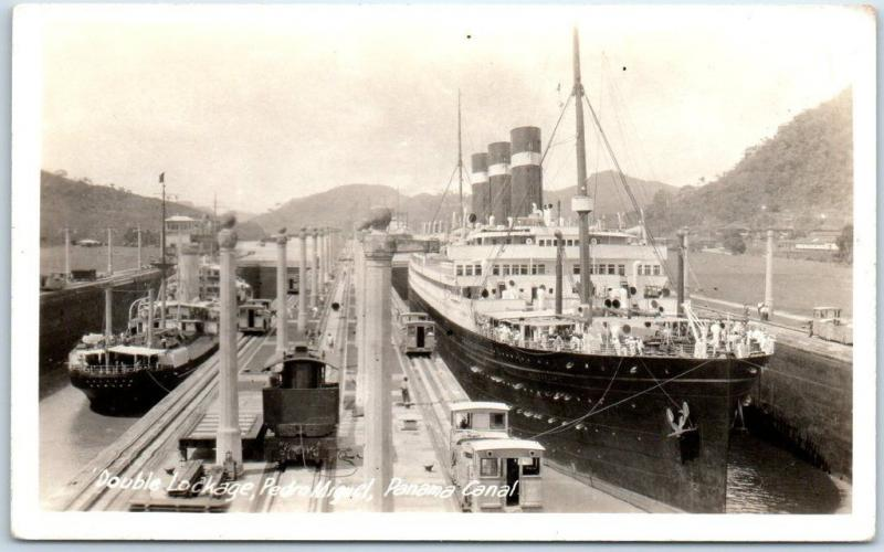 c1930s Panama Canal RPPC Real Photo Postcard Double Lockage, Pedro Miguel