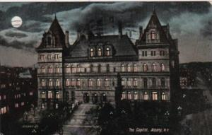 New York Buffalo State Capitol Building At Night 1908
