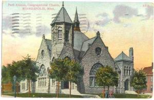 Park Avenue Congregational Church, Minneapolis, Minnesota, MN, 1908 Divided Back