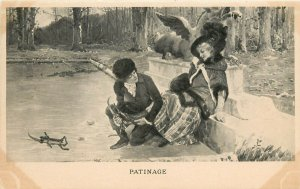 Early French Postcard 'Patinage' Boy Holds Girl's Ankle putting on Ice Skates