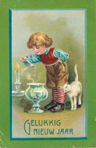 Happy New Year vintage postcard Boy and a cat 02.52