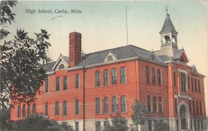 Canby Minnesota~High School Building~Wind Vane on Bell Tower~1910 Postcard