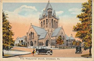UNIONTOWN PA~FIRST PRESBYTERIAN CHURCH POSTCARD 1920 PSMK