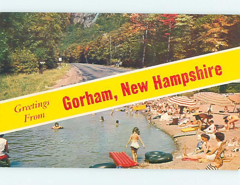 Pre-1980 GREETINGS FROM BEACH Gorham New Hampshire NH M7487