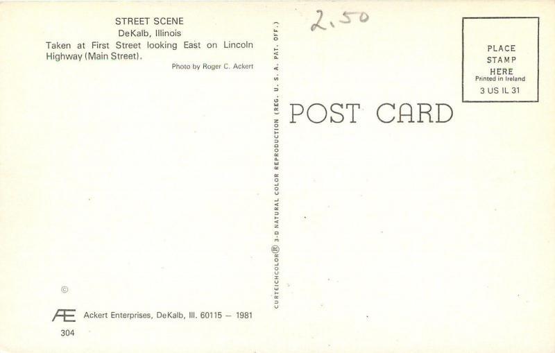 DeKalb Illinois~Jack's Juvenile Shop~White Volkswagen Beetle~1970s Postcard