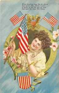 F64/ Patriotic Postcard c1909 Liberty Woman Flags Shield Old Glory 24