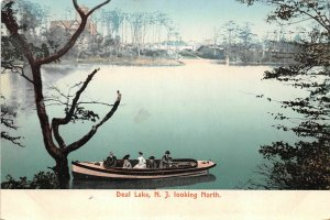 H72/ Deal Lake New Jersey Postcard c1910 Boating Boat People Homes  60