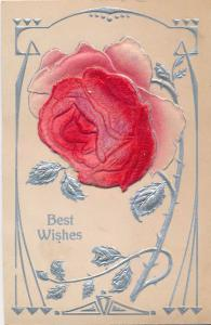 Best Wishes Greetings - Rose Flower - Embossed High Relief - DB