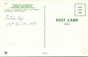 Vtg Chrome Postcard Hyde Park New York NY Roosevelt Library Ford Phantom UNP