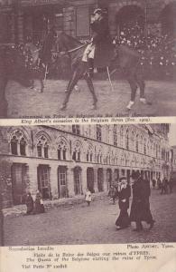 Queen of Belgium visiting ruins of YPRES , 1914-18