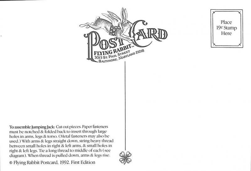 Flying Rabbit 1992 Felicity Good Luck Pig Samantha Carol Smith Cut-Out Postcard