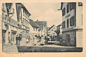 GRUSS aus HORB am NECKAR GERMANY~MARKTPLATZ~1900s PAUL CHRISTIAN PHOTO POSTCARD