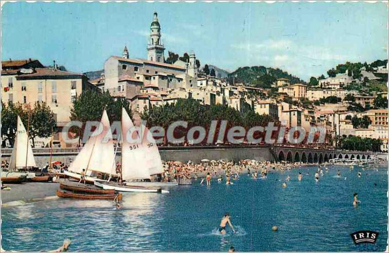 Modern Postcard Menton (A M) The Old Town and the Beach
