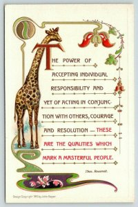 Theodore Roosevelt Quotes~Accept Responsibility~Giraffe~Art Nouveau Emboss~1910