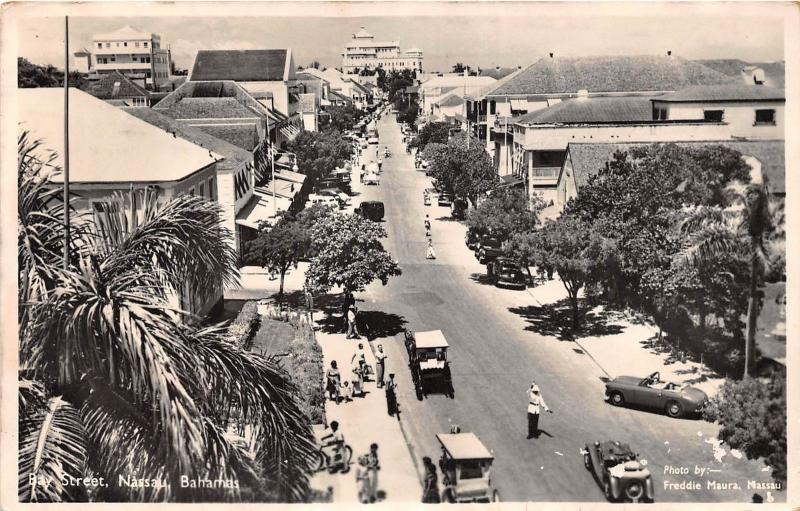 D34/ Nassau Bahamas Foreign Postcard 1958 Stamp Bay Street Stores RPPC