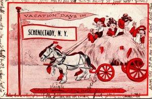 New York Schenectady People Enjoying Hay Ride 1916 Pennant Series