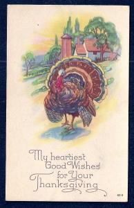 Heartiest Thanksgiving Wishes Turkey unused c1910's