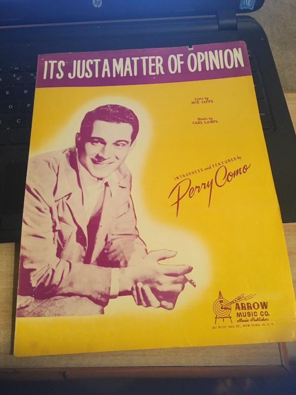 Vintage Postcard: It's Just a Matter of Opinion, Perry Como 1946