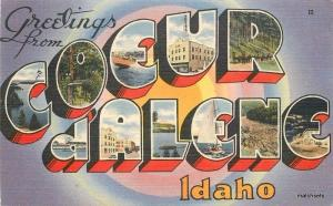 Coeur d' Alene Idaho Large Letters multi View linen Tichnor postcard 4134