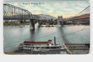 PPC POSTCARD WEST VIRGINIA WHEELING BRIDGES HAND-COLORED WITH BOATS ON WATER