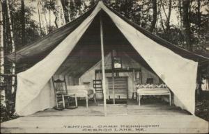 Sebago Lake ME Tent at Camp Kennington c1910 Postcard