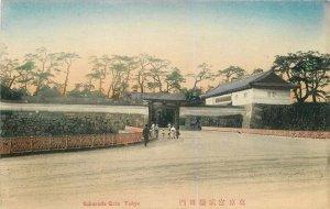 C-1910 Japan Sakurada Gate Tokyo Postcard hand colored 7658