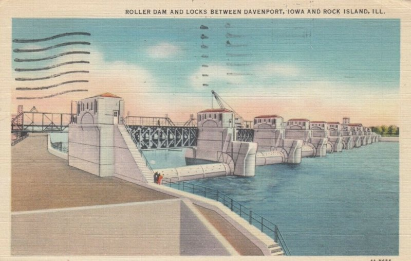 Roller Dam & Locks between DAVENPORT, IA & ROCK ISLAND, Illinois, 1937