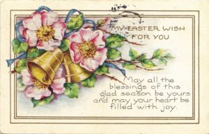 Country Rose and Bells Ephemera Easter Greeting Vintage Postcard