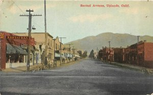 G26/ Uplands California Postcard c1910 Second Avenue Stores Restaurant