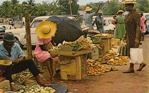 Barbados West Indies Post card Old Vintage Antique Postcard Roadside Vegetabl...