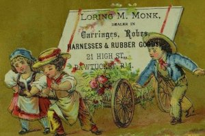 1880's Carriages Harnesses Lovely Kids Wagon Victorian Trade Card P33