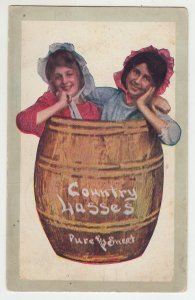 P2175 1909 postcard country lasses pure & sweet in a barrel