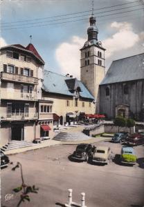 RP; Tinted, MEGEVE, Haute Savoie, France; La Place de la Mairie et le Prieure...