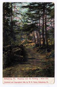 Gettysburg PA 1906 Roadway Near the Fording Wolf Hill Tipton Civil War Postcard
